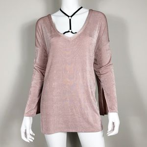 * A-23: BooHoo Pink black strap neck tunic 18